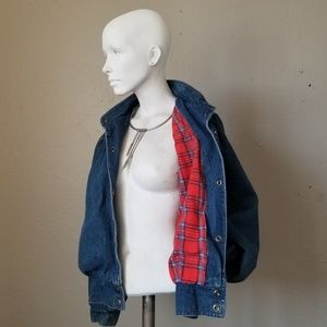 ❤💙Flannel lined Vintage Denim Pleated Jacket ❤💙